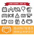 Wedding line icons set 36 vector image