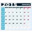 Calendar 2015 January design template vector image