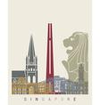 Singapore skyline poster vector image