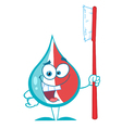 Toothpaste Character Holding A Toothbrush vector image vector image