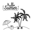 monochrome poster of hello summer with umbrella vector image