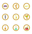 music instrument icons set cartoon style vector image