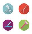 Perms for eyelashes a dangerous razor scissors vector image