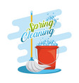 spring cleaning set mop red plastic bucket with vector image