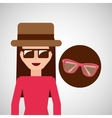 toursit female hat sunglasses elegant vector image