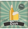 Vintage poster template for cold beer Bottle and vector image