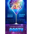 Disco background Winter Cocktail party poster vector image