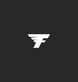 Flying letter F logo monochrome abstract geometry vector image