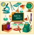 Back to school poster with stationery icons vector image