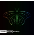 Butterfly silhouette of lights on black background vector image