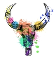 Cow watercolor skull- hand drawn vector image