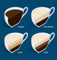 four isometric cups of coffee in a cut tripplo vector image