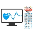 Cardio Monitoring Icon With 2017 Year Bonus vector image