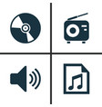 multimedia icons set collection of file tuner vector image