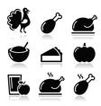 Thanksgiving Day food icons set - turkey pumpkin vector image vector image