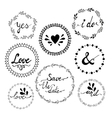 Set of wedding invitation vintage typographic vector image