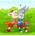 cartoon mouse kissing rabbit vector image vector image