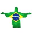 brazil flag jesus background An old grunge flag of vector image