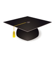 black graduation mortar board hat with gold trim vector image
