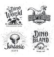 Dinosaur Logo Set Triceratops t-shirt vector image