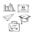 Diploma cap school bag ruler and books vector image