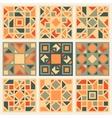 Set of Nine Geometric Square Quilt Retro vector image