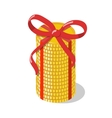 Stack of golden coins tied with red ribbon bow vector image