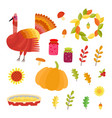 thanksgiving set collection with autumn vector image