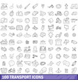 100 transport icons set outline style vector image