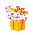 outflying hearts from present on white background vector image