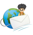 A man in the middle of the globe and the envelope vector image