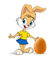 easter bunny with egg vector image vector image
