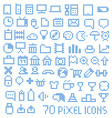 70 pixel web icons vector image