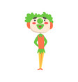 funny clown with green makeup colorful cartoon vector image