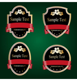 Set of black and gold ornate labels with red tape vector image