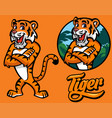 Set of cartoon tiger character vector image