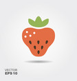 Strawberry flat icon with shadow vector image