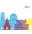 Sofia skyline pop vector image