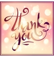 Hand drawn Thank You sign on pink bokeh vector image