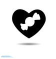 icon black heart valentine s day candy vector image