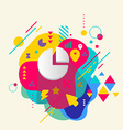 Pie chart on abstract colorful spotted background vector image