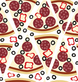 Seamless pattern with slices of salami pizza vector image
