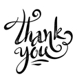 Black thank you sign in grunge calligraphy vector