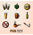 Pub beer handdrawn icons set with - Glass mug vector image