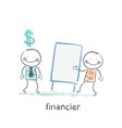 financier hears a presentation from a man vector image vector image
