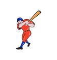 Baseball Hitter Batting Red Isolated Cartoon vector image vector image