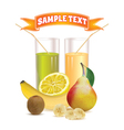 glasses with juice banana kiwi and lemon vector image