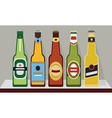 A row of full beer bottles on a shelf SET 2 vector image