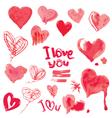 hearts aquarelle 380 vector image