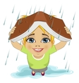 Little girl using book like protection of rain vector image